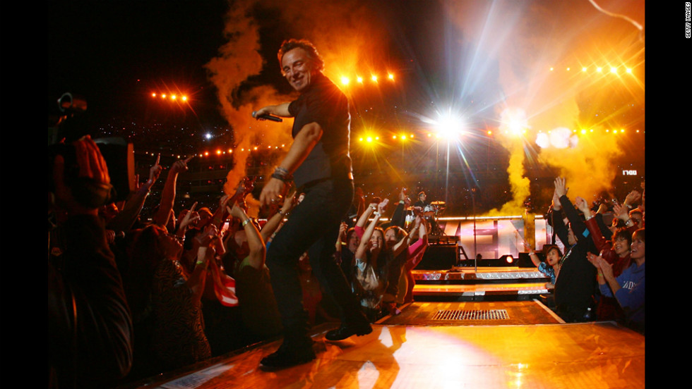 Springsteen and the E Street Band put on a rousing halftime show at the Super Bowl XLIII in Tampa, Florida, in February 2009.