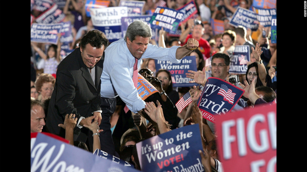 Springsteen, who has earned a reputation for being outspoken about his political views, greets supporters with Democratic presidential candidate Sen. John Kerry at a Miami rally shortly before the 2004 election.