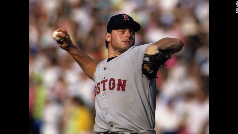 Clemens pitches for the Boston Red Sox against the Toronto Blue Jays in 1990.