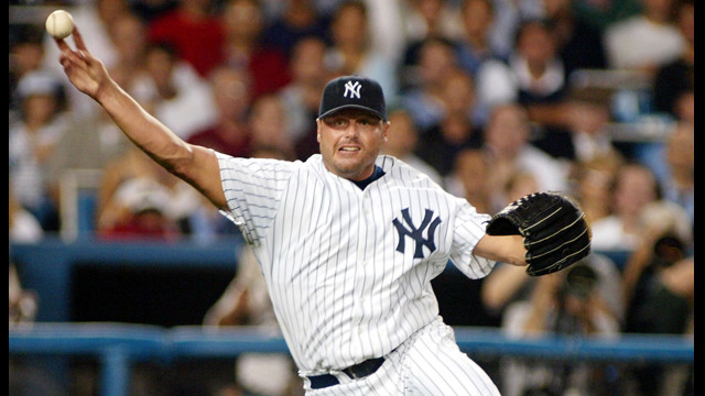 Clems, as the starting pitcher for the New York Yankees', throws out Los Angeles Angel's Darin Erstad during the first game of the American League Division Serios in 2002.