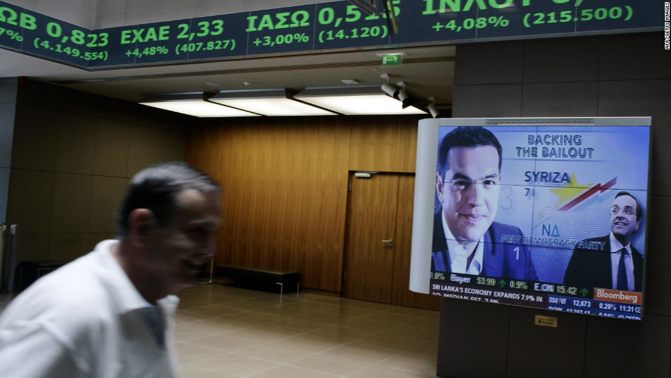 The Athens stock exchange on June 18, 2012. The election victory of the pro-bailout New Democracy party eased fears of a Greek eurozone exit and brought relief to world markets.