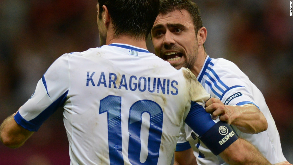 Giorgos Karagounis scored the winning goal against Russia as Greece reached the last eight of Euro 2012.