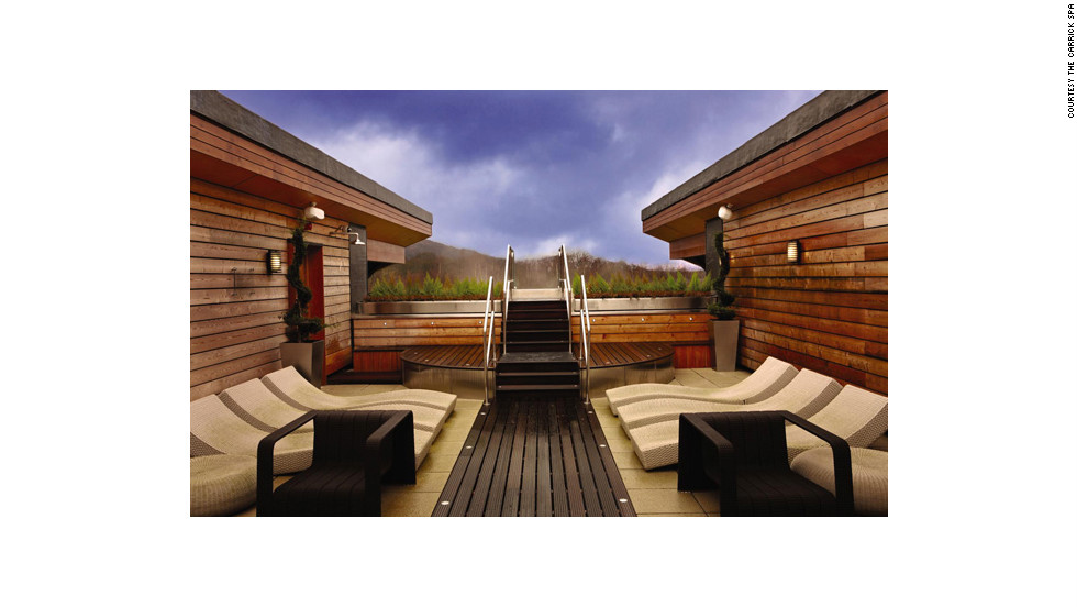 """The rooftop terrace at the Carrick Spa at the Cameron House on Loch Lomond in Scotland has views of the surrounding woods. <a href=""""http://www.budgettravel.com/slideshow/photos-girls-weekend-world-spas-with-incredible-views,8525/"""" target=""""_blank"""">See more photos of the spas at BudgetTravel.com</a>."""