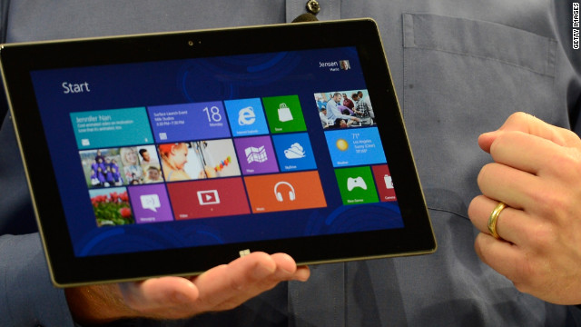 The Microsoft Surface, running Windows 8.