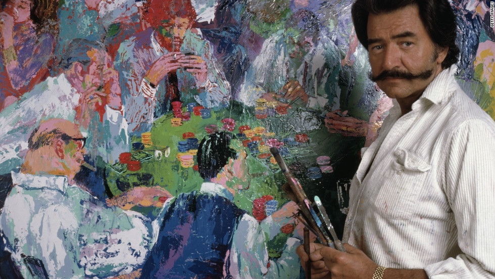 Iconic American artist LeRoy Neiman, seen here with his 1980 painting depicting gamblers, died in New York on Wednesday, June 20. He was 91.