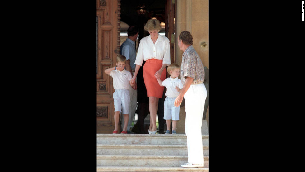 In 1988, Prince Charles and Princess Diana visit Palma De Mallorca, Spain, with their two sons.
