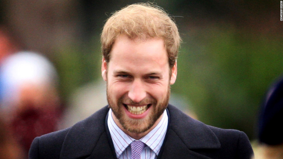 Prince William sports a beard for the first time in public at a Christmas Day church service in 2008. He was clean-shaven by early January.