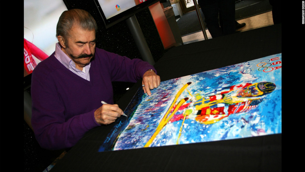 Artist LeRoy Nieman signs autographs at the 100 Days to Vancouver Celebration on November 4, 2009, at the Rockefeller Center in New York City.