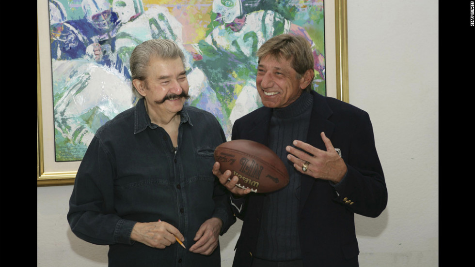 "Neiman and former New York Jets quarterback Joe Namath unveil and sign a limited edition serigraph, titled ""Handoff - Super Bowl III,"" at the Neiman studio on January 18, 2007."