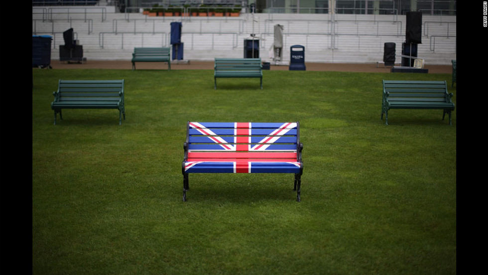 A bench is decorated with a Union Jack flag in the Grandstand on Ladies Day at Royal Ascot.