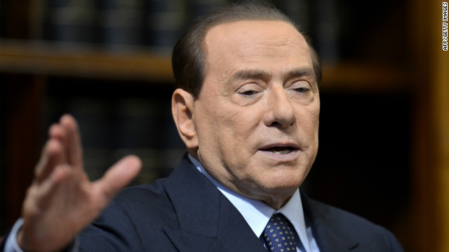 (File photo) Former Italian Prime Minister Silvio Berlusconi speaks during a press conference on May 25, 2012 in Rome.