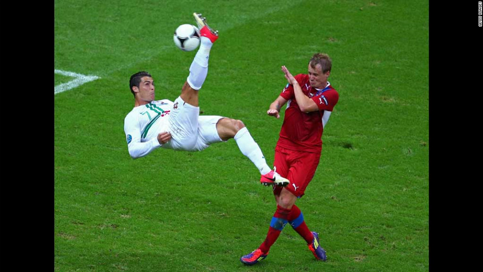 Portgual's Cristiano Ronaldo attempts an overhead kick during the Euro 2012 quarter final match between the Czech Republic and Portugal at the National Stadium on  Thursday, June 21, in Warsaw, Poland.