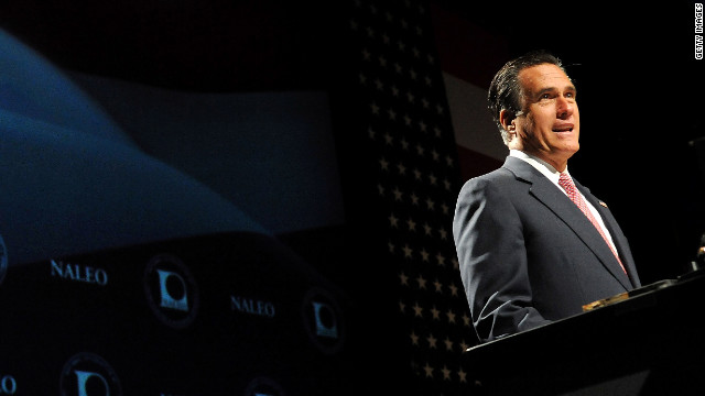 Mitt Romney speaks at the National Association of Latino Elected and Appointed Officials in Florida on Thursday.