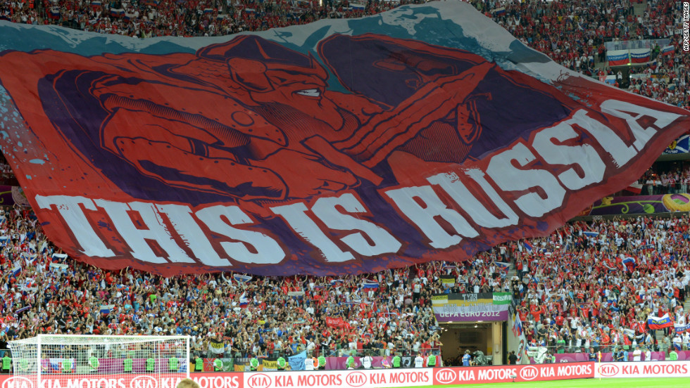 When Poland and Russia clashed at Euro 2012 running street battles erupted before kickoff. The two nations have a history of conflict, Poland being occupied by Stalin's Russia during and after World War II. Russian fans unveiled this banner before the game that provoked more tension in the stands. The game in Warsaw ended 1-1.