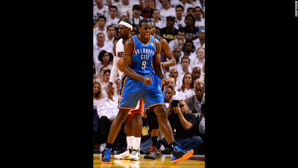 Serge Ibaka, No. 9 of the Thunder, reacts in the first half against the Heat.