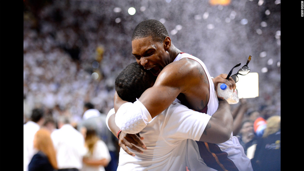 Chris Bosh No. 1 of the Miami Heat celebrates after the Heat won 121-106 against the Oklahoma City Thunder in Game Five of the 2012 NBA Finals on Thursday, June 21.
