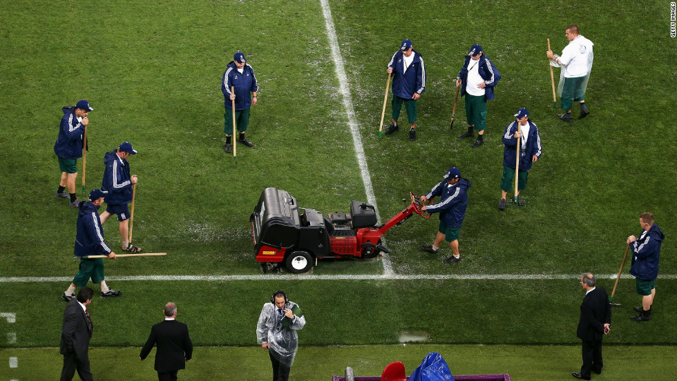 The flooded pitch at the Donbass  Arena for the Euro 2012 group game between France and the Ukraine quickly dried. STRI advised on the playing surface and drainage system.
