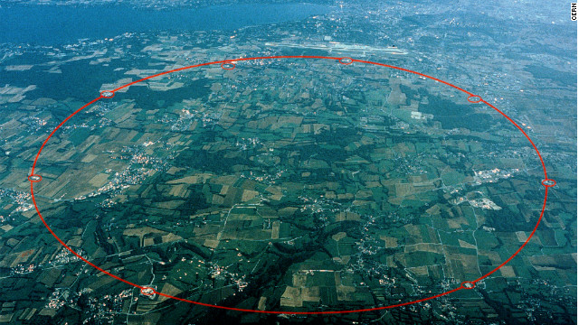 An aerial view of Switzerland near Geneva and Lake Leman with a circle showing the 16-mile circumference of the Large Hadron Collider.