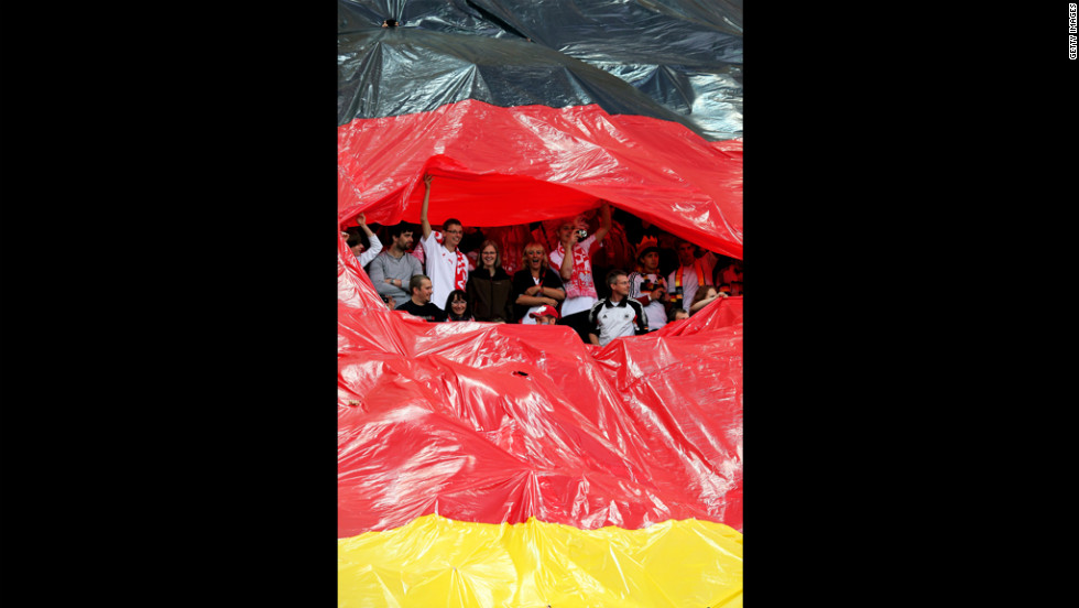 Fans for Germany show their spirit in the Municipal Stadium in Gdansk.