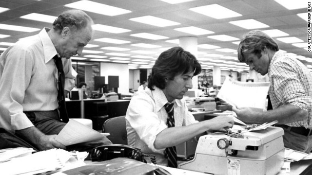 """In """"All the President's Men"""" (1976), Dustin Hoffman, center, plays Carl Bernstein and Robert Redford is Bob Woodward."""