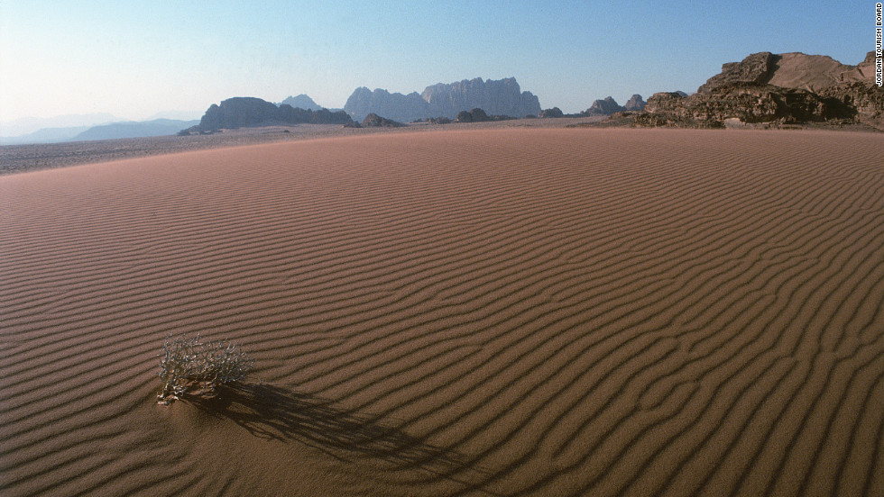 Wadi Rum is a vast area of protected desert in southern Jordan. Its red sands stretch like seas between mountains of sandstone.