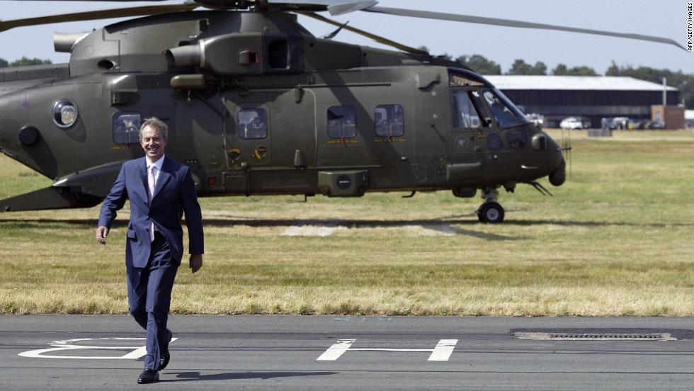 Then UK Prime Minister Tony Blair visits the air show in 2006. Current Prime Minister David Cameron is reportedly opening this year's event.