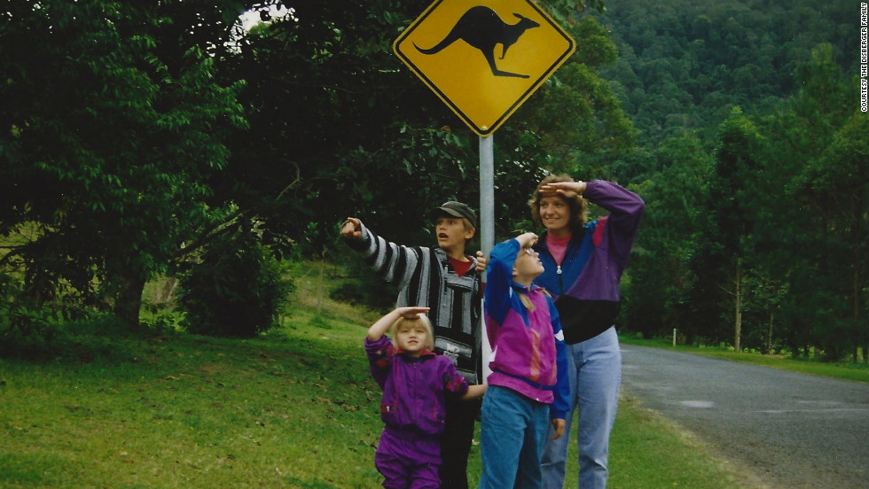 "Martha and the kids keep a lookout for kangaroos on Australia's Gold Coast.  How does she wrangle kids and a complicated travel itinerary? ""Excedrin and deep breathing work,"" she jokes. ""Wine helps."""