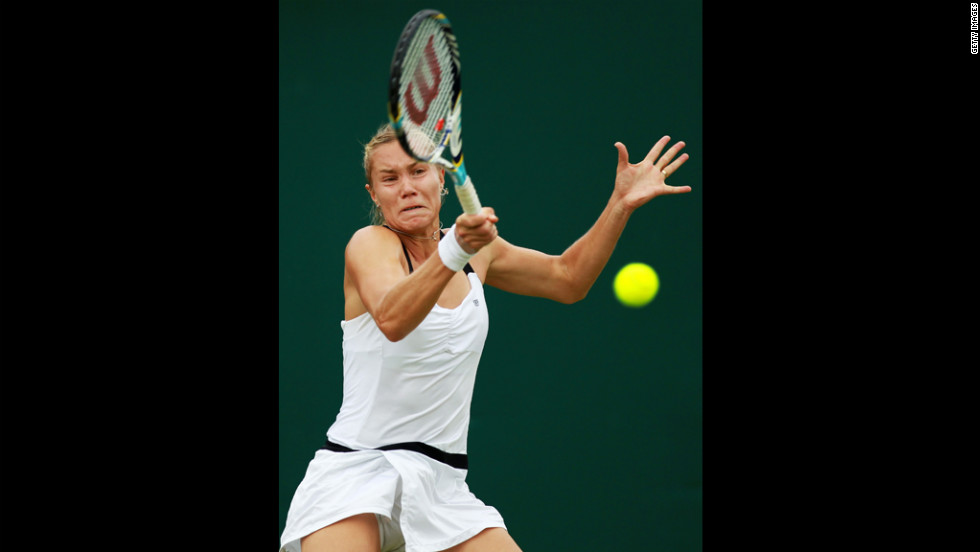Nina Bratchikova of Russia returns with a forehand during her match against Alize Cornet of France on Wednesday.