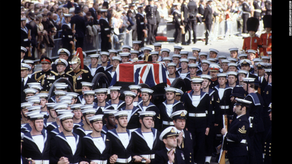 The funeral procession of Lord Louis Mountbatten, an uncle of the queen's husband, is held in the streets of London in September 1979. Mountbatten was assassinated by the IRA while on vacation in Ireland.