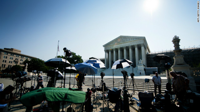 Members of the media camped outside the Supreme Court on Monday for a different ruling.