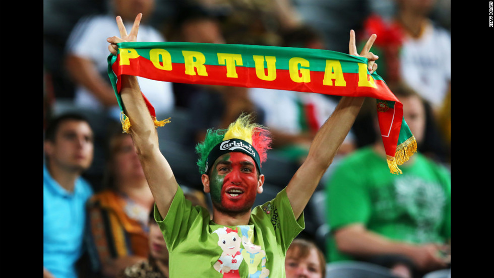 A Portugal fan shows his support.