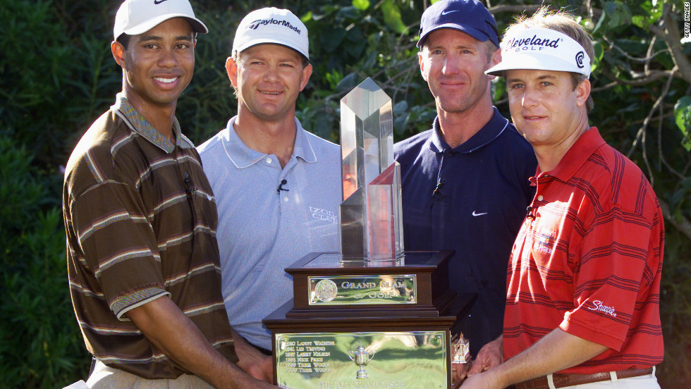 Duval was at his peak in 2001. Here he poses with Masters champion Tiger Woods, U.S. Open winner Retief Goosen and PGA Championship victor David Toms at the Grand Slam of Golf in Hawaii.