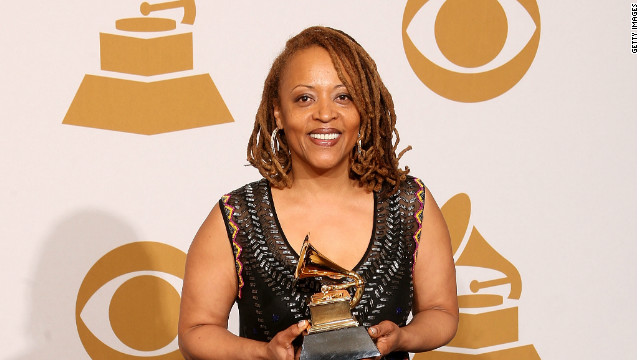 Cassandra Wilson poses with best jazz vocal album award for 'Loverly' in 2008.