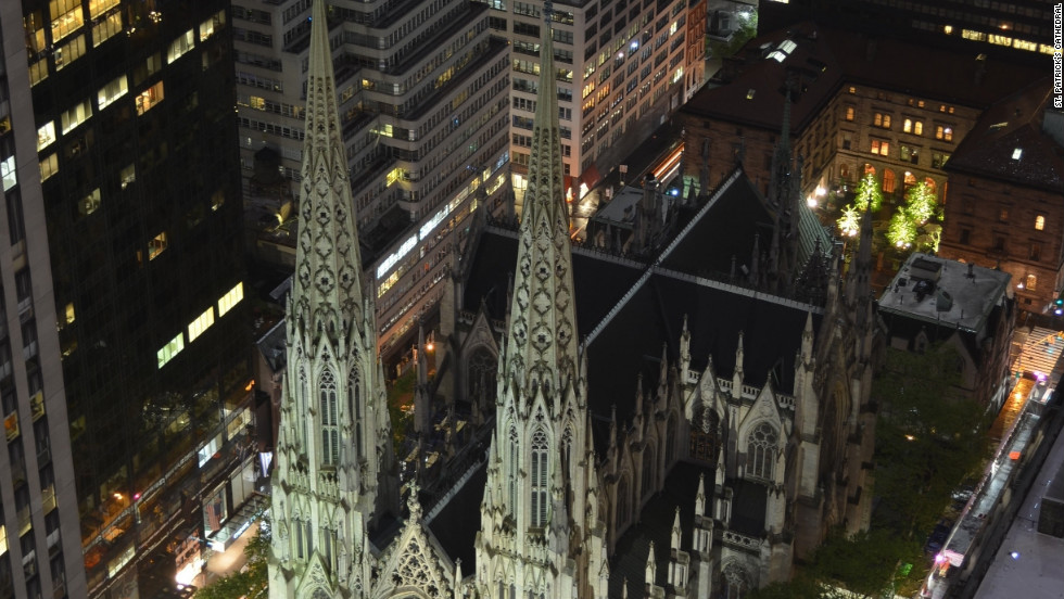 St. Patrick's Cathedral features soaring spires, an elaborate marble exterior and colorful stained glass windows.