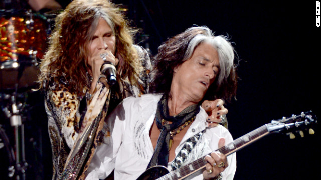 "Aerosmith's Steven Tyler and Joe Perry perform during the ""American Idol"" results show in May at Nokia Theatre L.A."