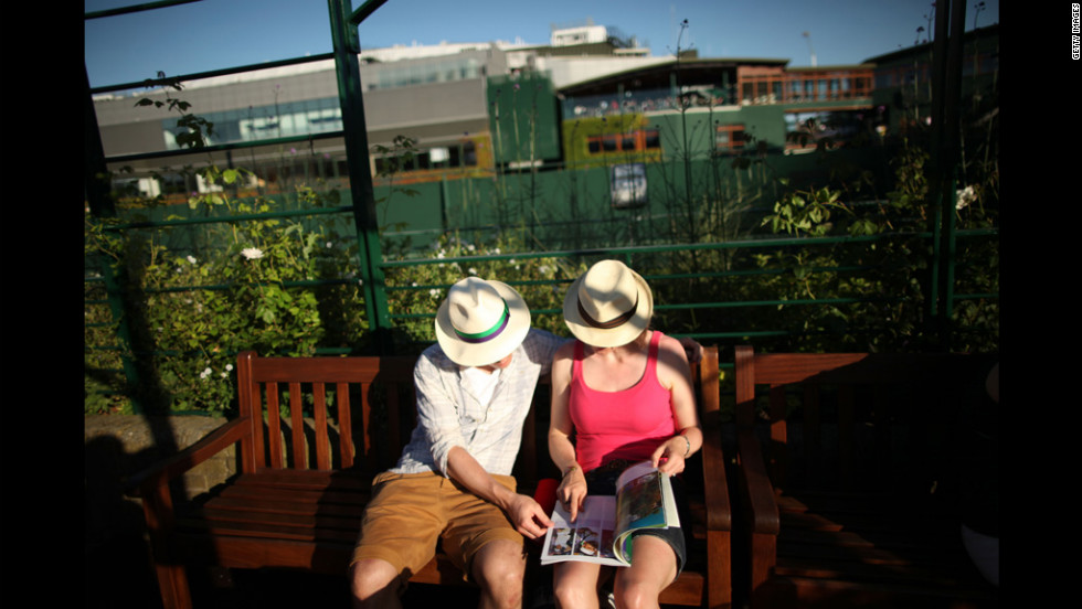 A general view of tennis spectators on day four of Wimbledon June 28.
