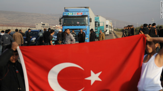 Highway blockage near the Turkish border. The crisis is forcing Turkish exporters to establish alternative routes to the gulf.