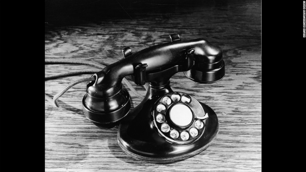 The telephone has come a long way from the 1930s, when rotary-dial models like this one were popular.