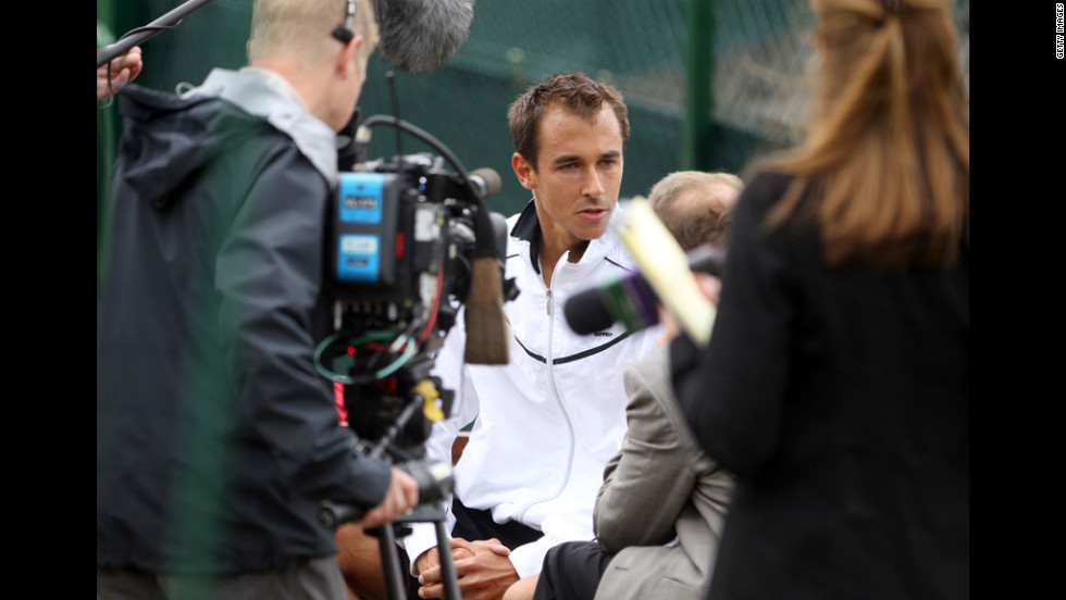 The Czech Republic's Lukas Rosol, the 100th-ranked player, speaks to reporters Friday, a day after he upset Rafael Nadal.