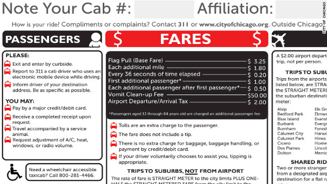 The placard shows new rules for Chicago cabs.
