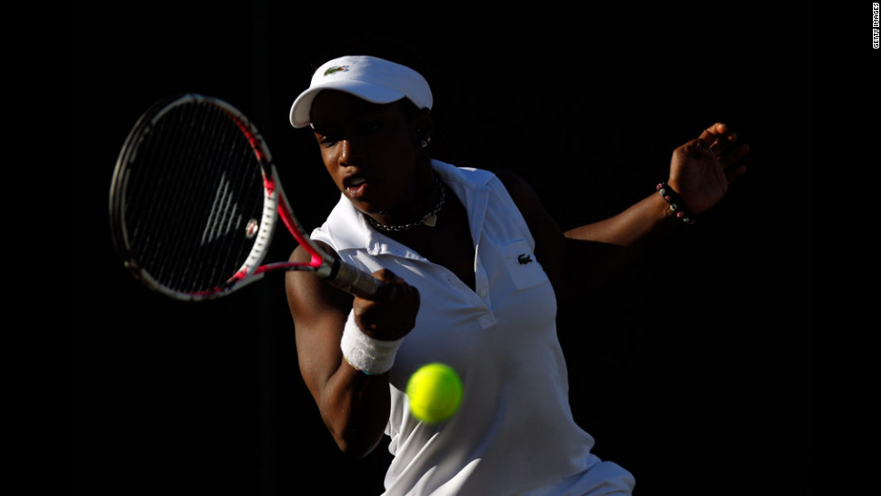 American Sachia Vickery makes a return in her girls' singles match against Ilka Csoregi of Romania on Saturday.