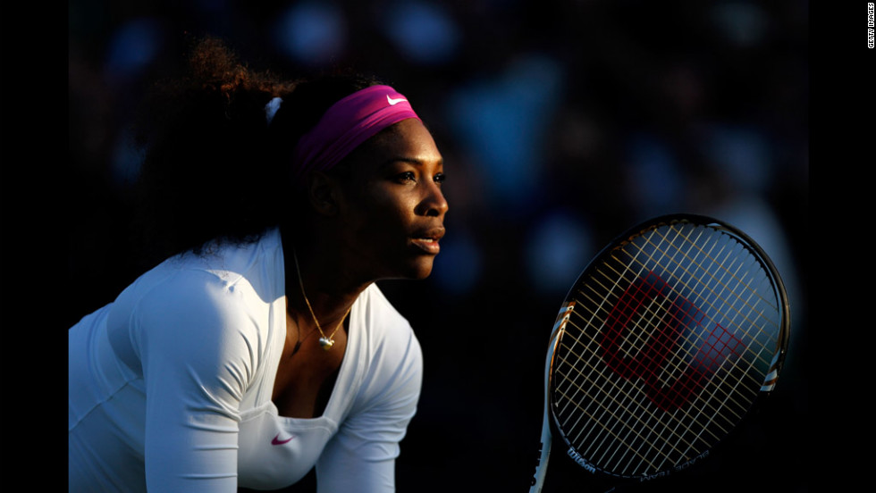 Serena Williams of the USA in action while playing with Venus Williams of the USA during their ladies' doubles second-round match against Maria Kirilenko and Nadia Petrova of Russia on Saturday.