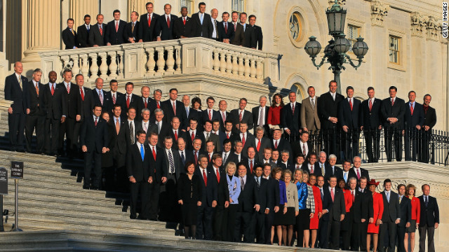 Newly elected freshman members of the 112th Congress pose for a photo on the steps of the U.S. Capitol in November 2010.