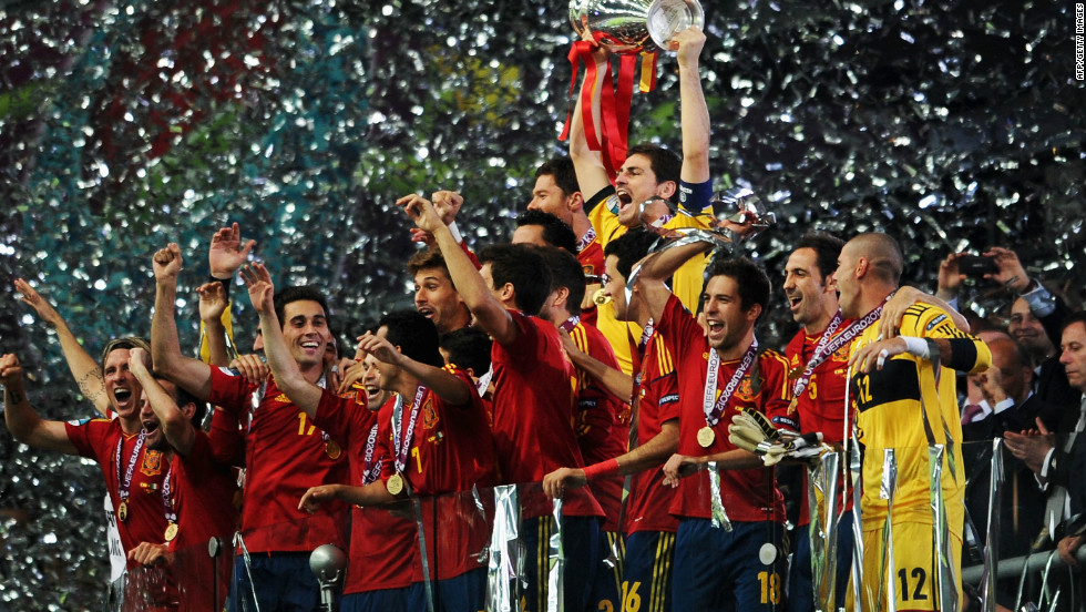 Spain have become the first country to win three major tournaments in a row. A 4-0 thrashing of Italy at the Olympic Stadium in Kiev on Sunday confirmed Vicente Del Bosque's team as undisputed kings of world football.