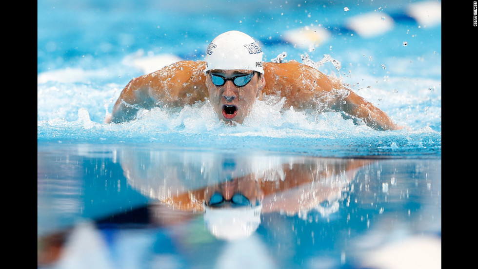 Michael Phelps competes in the championship final of the Men's 200-meter Individual Medley during Day Six of the 2012 U.S. Olympic Swimming Team Trials.