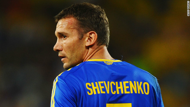 Andriy Shevchenko's last action as a player for Ukraine came at Euro 2012 in July