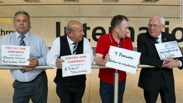 "Tony Parsons chats with ""cabbies"" at Heathrow."
