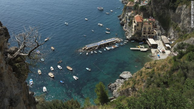 The port of Palinuro is located at the opposite end of the Amalfi coast (pictured) in Salerno Province, Italy.