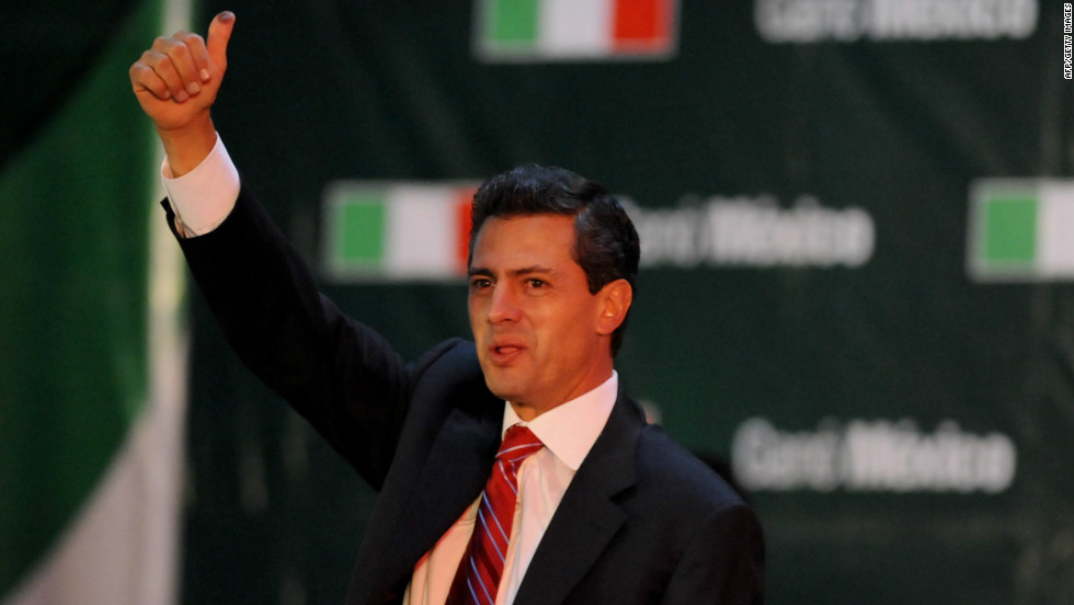 July: Enrique Peña Nieto of Mexico celebrates after learning the first official results of the presidential election, at the party's headquarters in Mexico City on July 1.