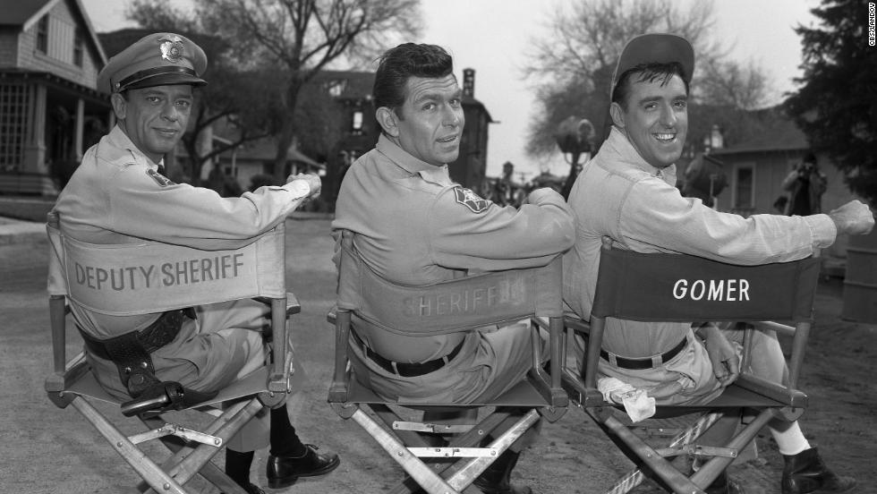 From left, Don Knotts as Barney Fife, Andy Griffith as Andy Taylor and Jim Nabors as Gomer Pyle.